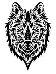 Pattern in a shape of a wolf on the white background.