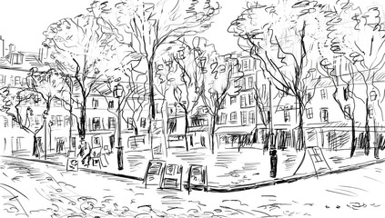 Wall Mural - Street in paris. Eiffel tower -sketch  illustration