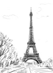 Wall Mural - Street in paris. Eiffel tower -sketch  illustration