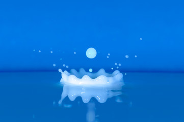 Milk splash and drop on blue background