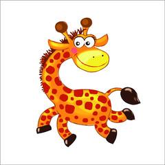 Happy giraffe with flower cartoon