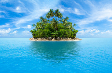 Photo on textile frame Island tropical island in ocean