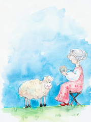 Old woman reels up wool in a ball  & lamb on a meadow.