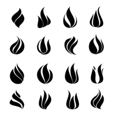 Icon black set fire on white background, vector illustration