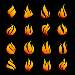Icon set fire color on black background vector illustration