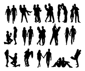 Silhouette Couple Doing Various Activities