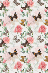 Seamless pattern of roses & butterflies