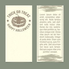 Halloween invitation template. Front and back sides