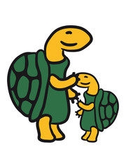 Süße Schildkröten Familie Kind