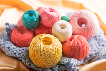 Set of colorful cotton yarn (close up shot)