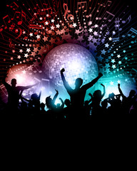 Party background with mirror ball