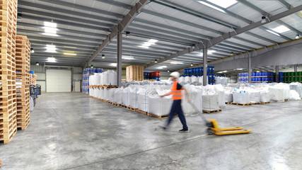 Lagerist mit Hubwagen in Lagerhaus // storeman in warehouse