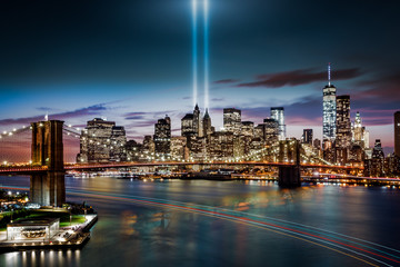 Printed roller blinds Historical buildings Tribute in Light memorial, on September 11th, in New York City
