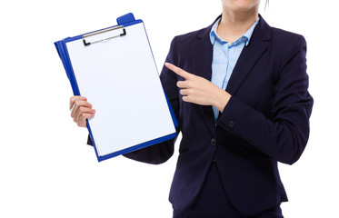 Businesswoman finger point to clipboard