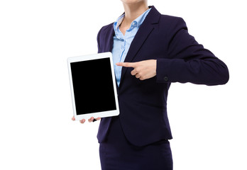 Businesswoman finger point to tablet