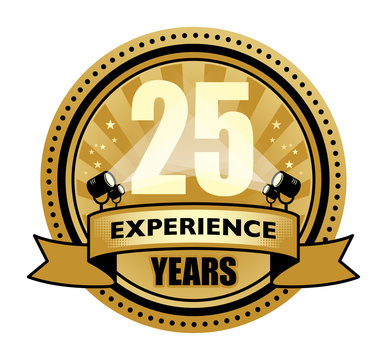 Label with the text 25 Years Experience written inside