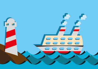 lighthouse and cruise ship