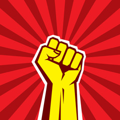 Hand Up Proletarian Revolution. Fist of revolution.