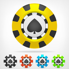 spades poker chip set 3D object isolated
