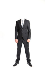 man without head wearing suit on white