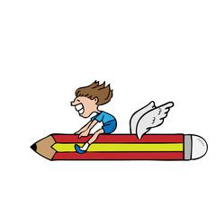 Boy rides flying pencil