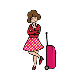 Girl and travel luggage
