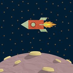 Fototapete - Papercraft rocket  and planet