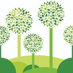 Seamless  vector background with green tree and leaves