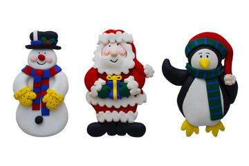 Christmas Snowman Santa and Penguin
