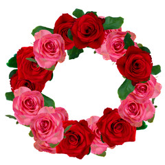 red and white roses wreath