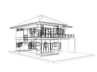 abstract sketch design of house ,3dwire frame render