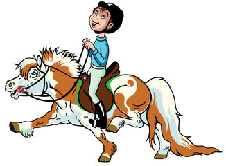 cartoon boy riding shetland pony