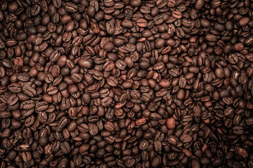 Coffee beans with strong vignette
