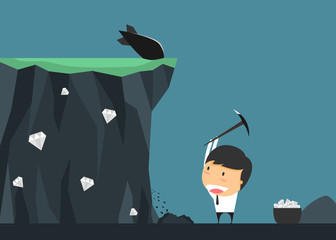 Businessmen risk for treasure. concept of Investment contains ce