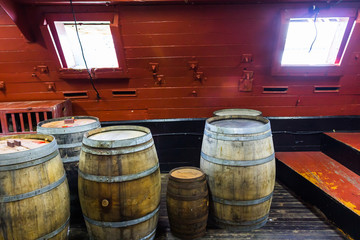 Barrels in cellar