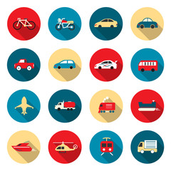 Transport color Icons waterways, overland, air