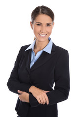 Isolierte lachende erfolgreiche junge Frau in Business Outfit