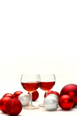 Red Wine and Christmas Decorations