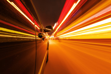 Night traffic,motion blur steet light.