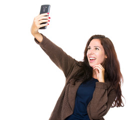 Woman take selfie with mobile phone