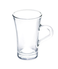 Empty clean drinking glass cup - Transparent glass isolated on w