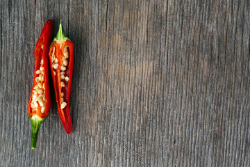 Canvas Prints Hot chili peppers Red hot chili peppers on wooden background