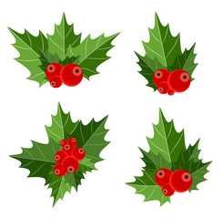 Christmas Berry Sign Vector Illustration