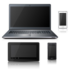 phone, laptop, tablet with reflection