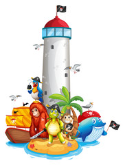 Lighthouse and animals
