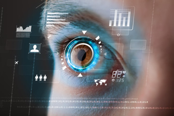 Fototapeta Future woman with cyber technology eye panel concept obraz