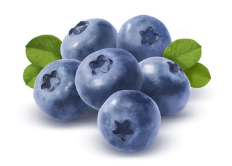 Big group of blueberries isolated on white background