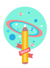 Drawing the universe. Creativity and back to school concept
