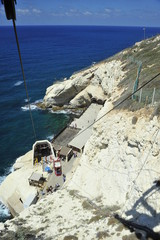 The white rock's funicular in Rosh Hanikra, Israel