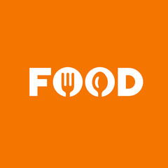 Food word sign logo icon design template with spoon and fork